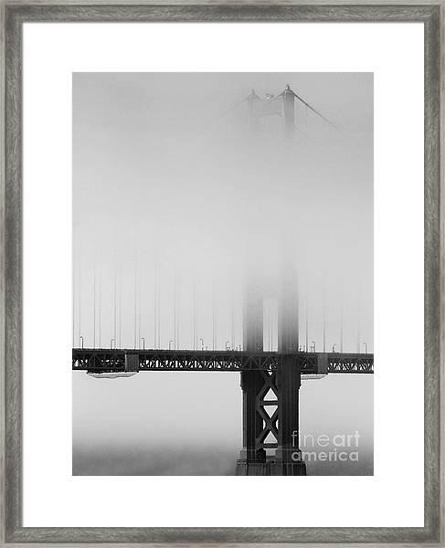 Fog At The Golden Gate Bridge 4 - Black And White Framed Print