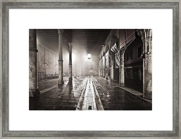 Fog In The Market Framed Print