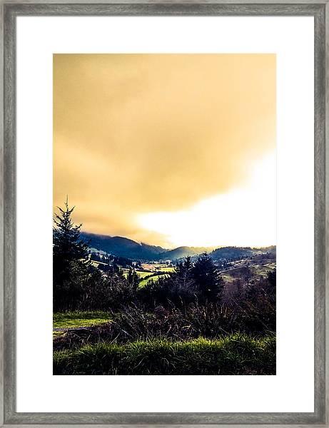 Fog Over Farmland Framed Print