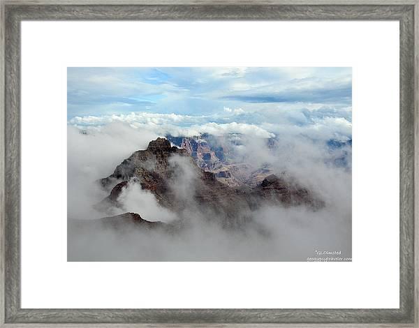 Fog Shrouded Vishnu Temple  Framed Print