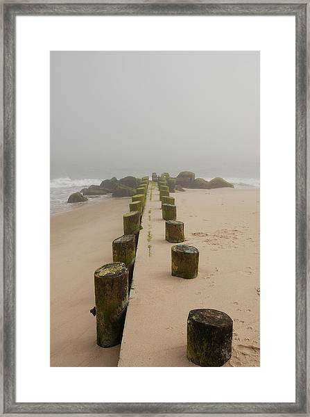 Fog Sits On Bay Head Beach - Jersey Shore Framed Print