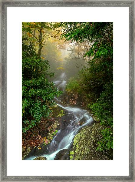 Foggy Autumn Cascades Framed Print
