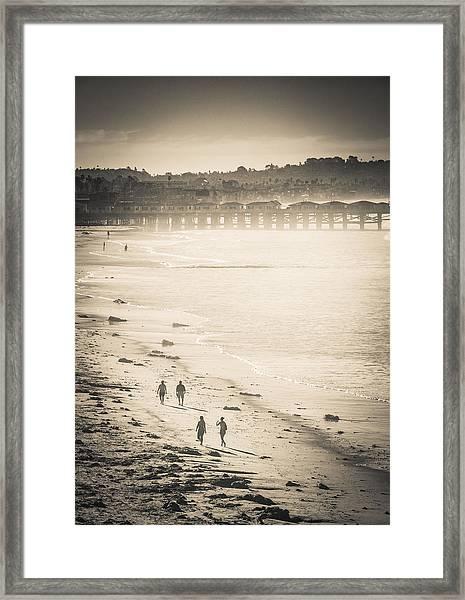 Foggy Beach Walk Framed Print