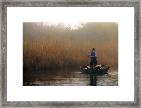 Foggy Fishing Framed Print