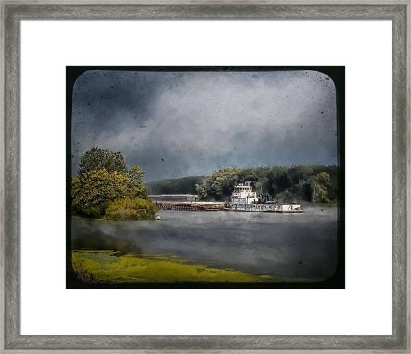 Foggy Morning At The Barge Harbor Framed Print