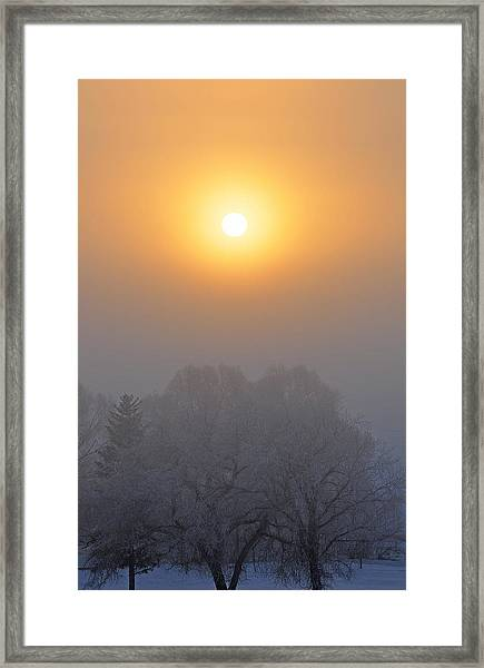 Foggy Morning In Montana's Gallatin Valley Framed Print