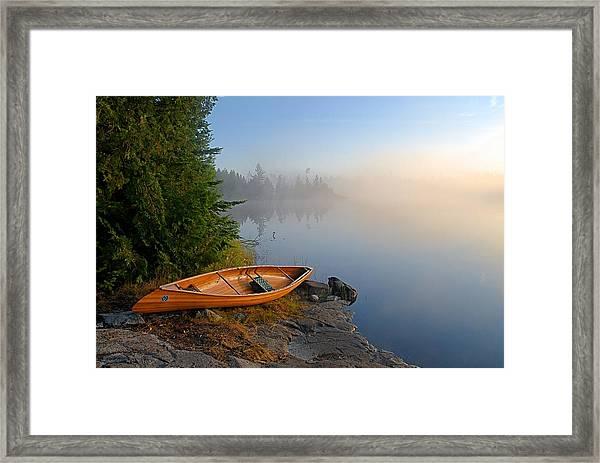 Foggy Morning On Spice Lake Framed Print