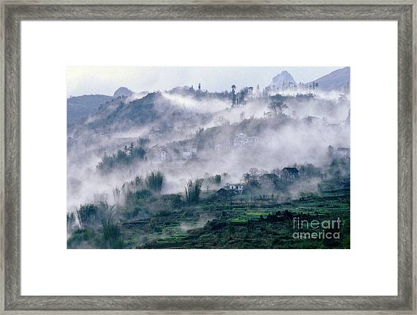 Foggy Mountain Of Sa Pa In Vietnam Framed Print