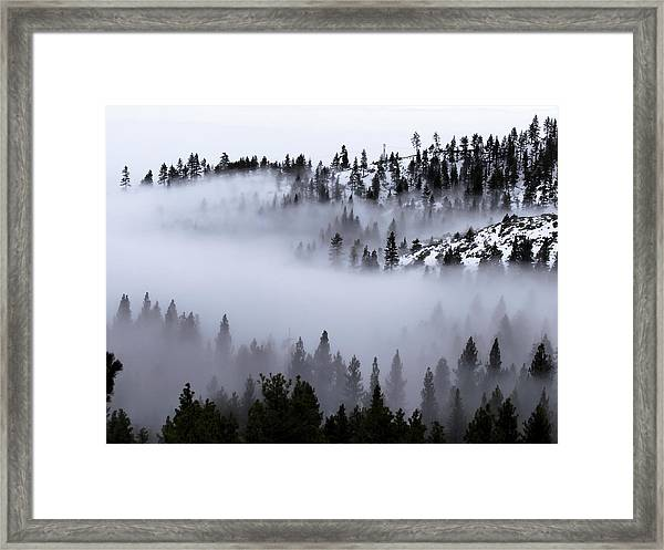 Foggy Mountain Pass Framed Print