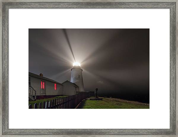 Foggy Night At Pemaquid Point Lighthouse Framed Print