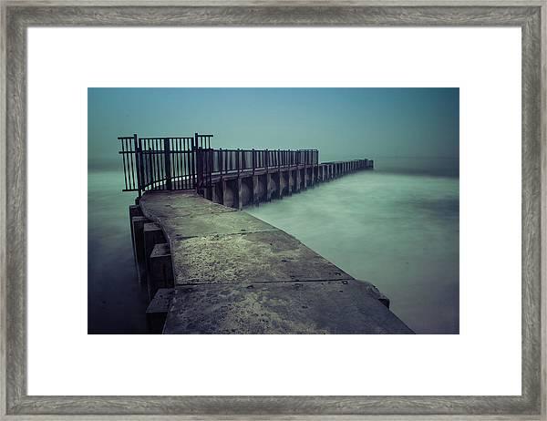 Foggy Night At Toes Beach Framed Print