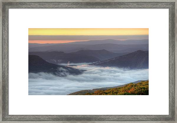 Foggy Valley Morning Framed Print by Michael Donahue