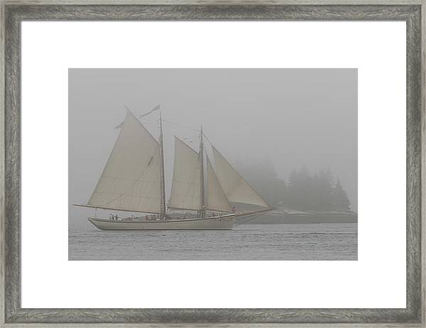 Foggy Windjammer Framed Print