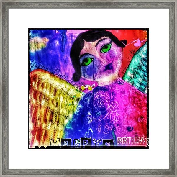 Folk Art Happy Birthday Angel Framed Print