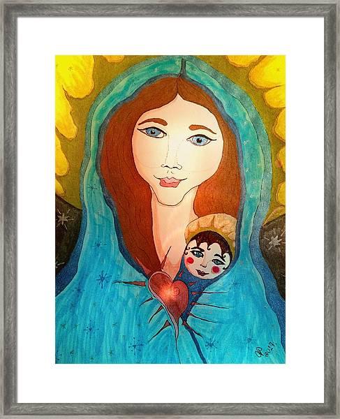 Folk Mother And Child Framed Print