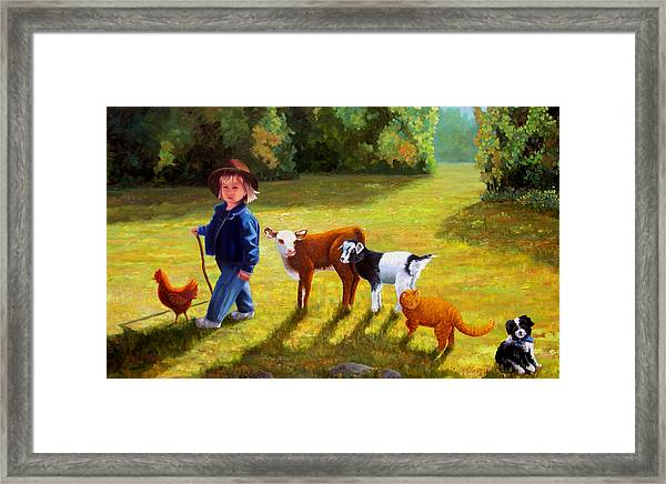 Following The Leader Framed Print by Valerie Aune