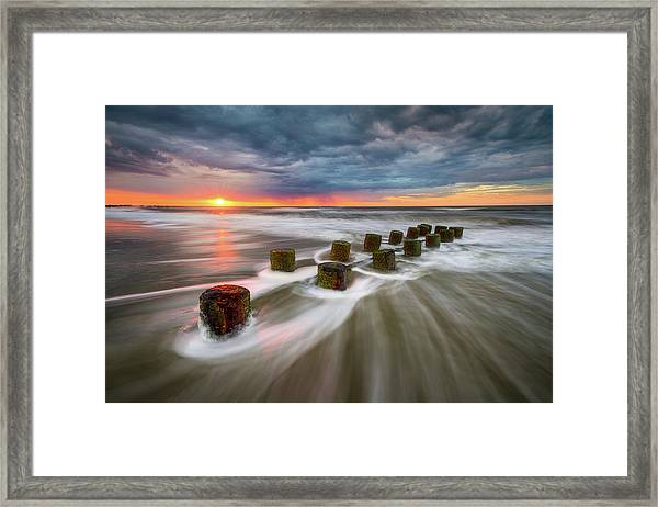 Folly Beach Charleston Sc South Carolina Sunrise Seascape Framed Print