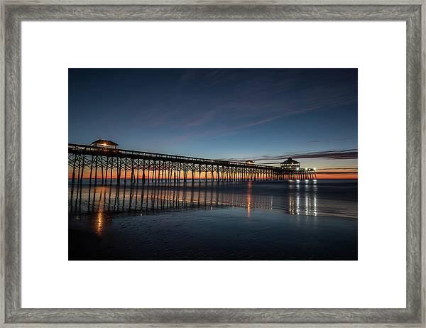 Folly Beach Pier Before Sunrise Framed Print
