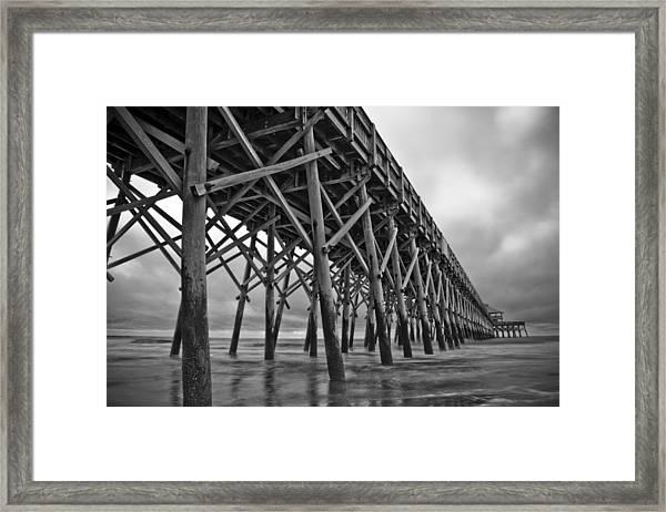 Folly Beach Pier Black And White Framed Print