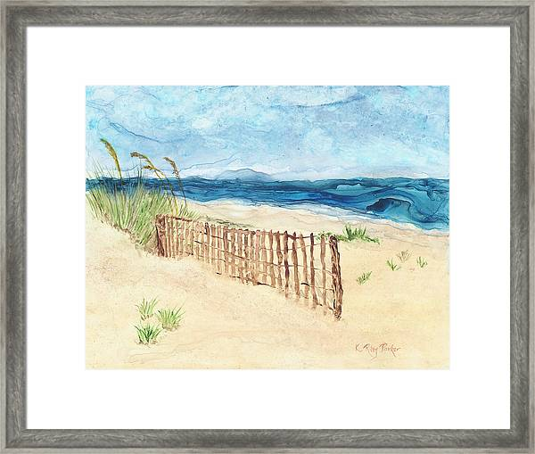 Framed Print featuring the painting Folly Field Fence by Kathryn Riley Parker
