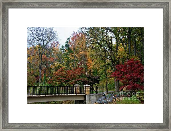 Foot Bridge In The Fall Framed Print