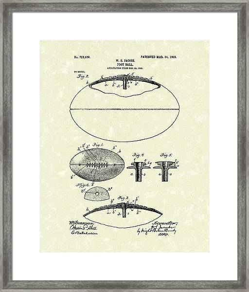 Football 1903 Jacobs Patent Art Framed Print