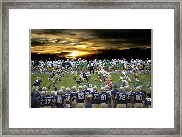 Football Field-notre Dame-navy Framed Print
