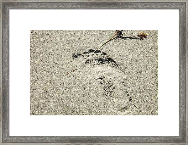 Footprint In The Sand  - South Beach Miami Framed Print