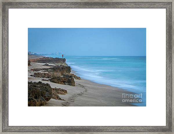 Framed Print featuring the photograph Footprints And Rocks by Tom Claud