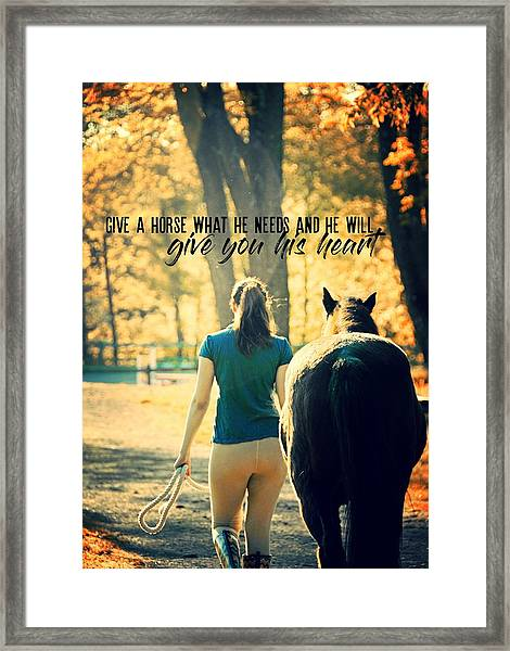 For The Love Of A Pony Quote Framed Print