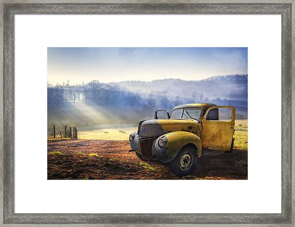 Framed Print featuring the photograph Ford In The Fog by Debra and Dave Vanderlaan