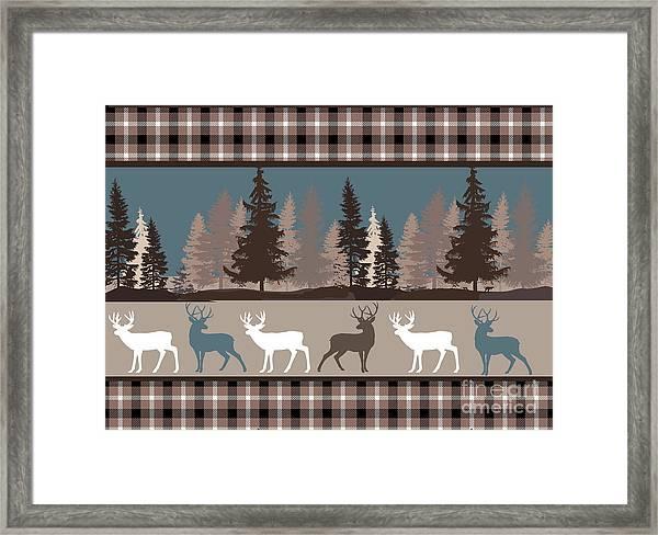 Forest Deer Lodge Plaid II Framed Print