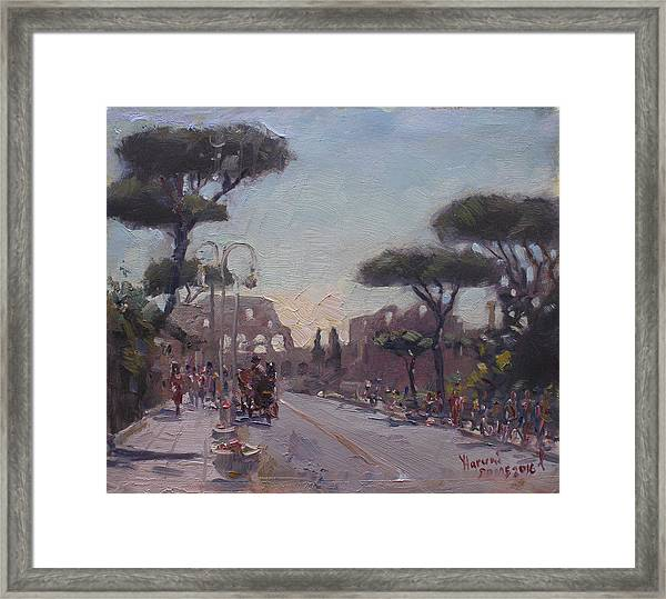 Fori Romani - Street To Colosseo Framed Print