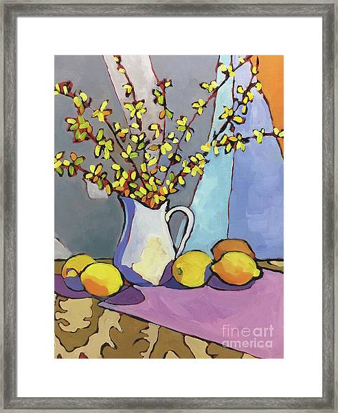 Forsythia And Lemons Framed Print by Catherine Martzloff