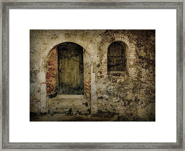 Framed Print featuring the photograph Corfu, Greece - Fortress Door by Mark Forte