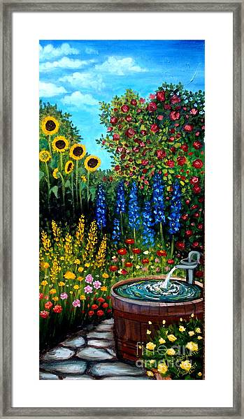 Fountain Of Flowers Framed Print