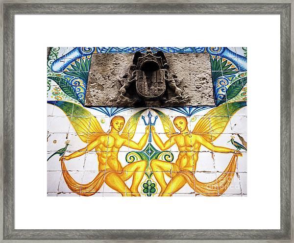 Fountain Tile Design In Barcelona Framed Print by John Rizzuto
