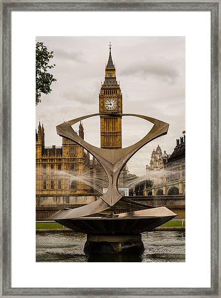 Fountain With Big Ben Framed Print
