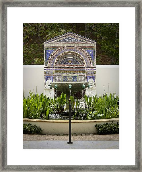 Fountains At The Getty Villa Framed Print
