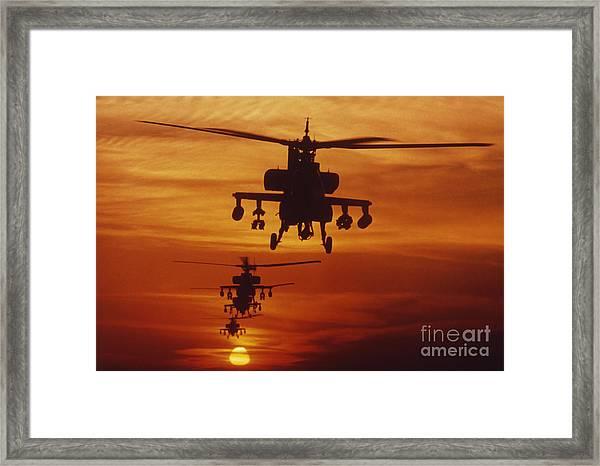 Four Ah-64 Apache Anti-armor Framed Print