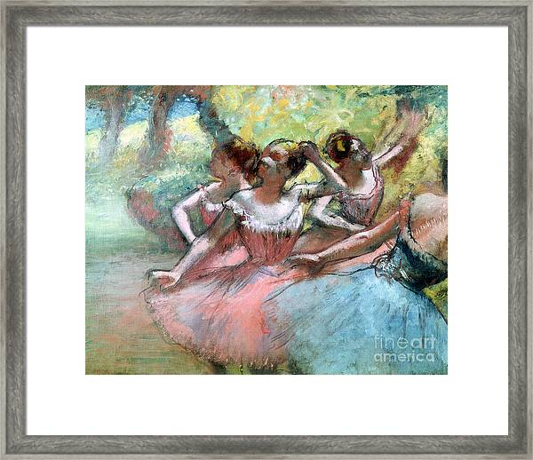 Four Ballerinas On The Stage Framed Print