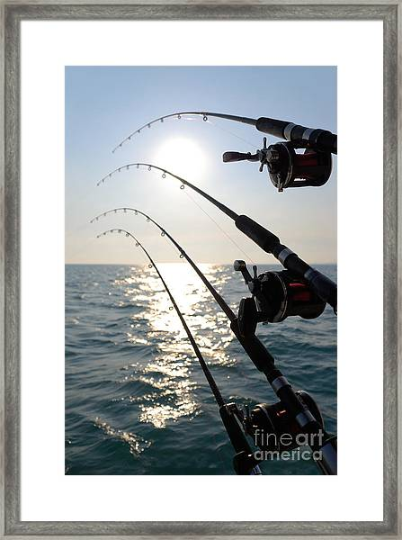 Four Fishing Rods At Sunrise Framed Print