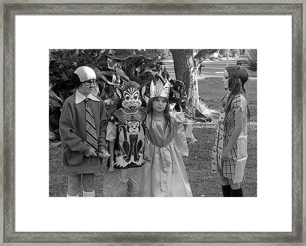 Four Girls In Halloween Costumes, 1971, Part Two Framed Print