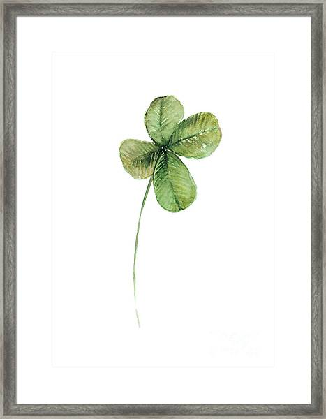 Four Leaf Clover Watercolor Poster Framed Print