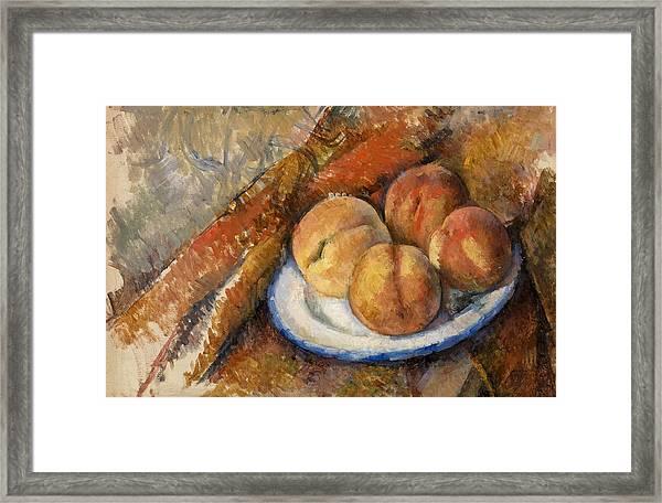 Four Peaches On A Plate Framed Print
