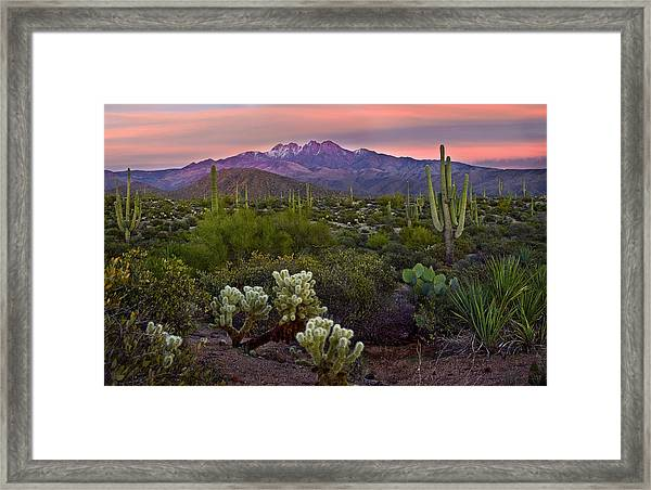 Four Peaks Sunset Framed Print