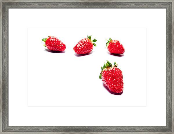 Four Strawberries Framed Print