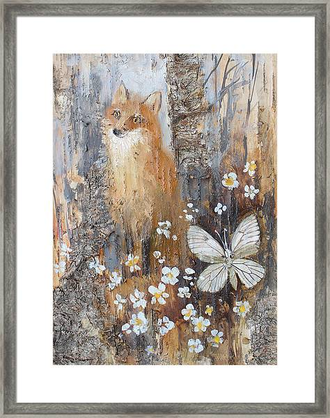 Fox And Butterfly Framed Print