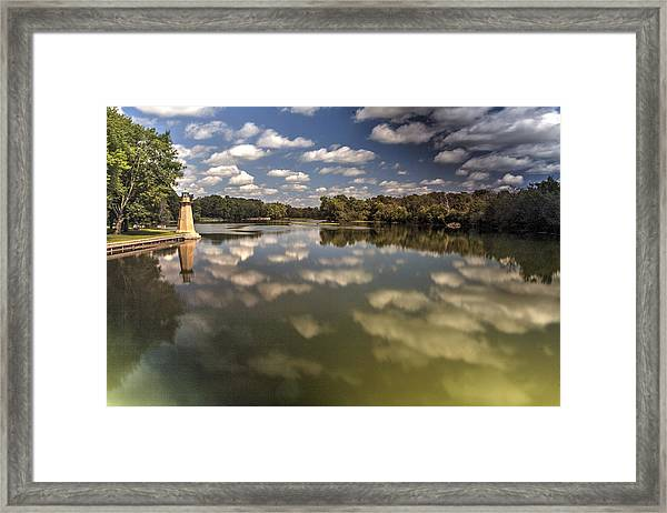 Fox River Lighthouse Geneva Illinois Framed Print
