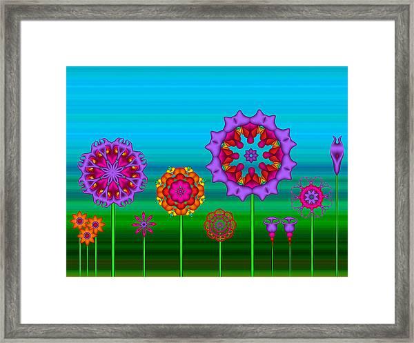Whimsical Fractal Flower Garden Framed Print